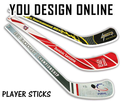 Plastic Player Hockey Stick (White) Design Online or Upload Your Design